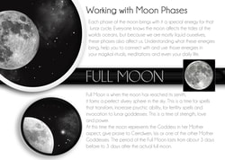 lunar phase and moon An explanation of the moon phases using a colorful diagram with realistic images.
