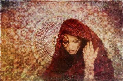 spiritual woman in red cloak, hand to ear, spirals in background