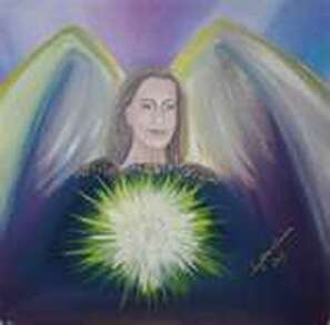 archangel metatron and his light, energy ball painting